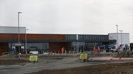 Construction of the Aldi and M&S in Royston continues. Picture: DANNY LOO
