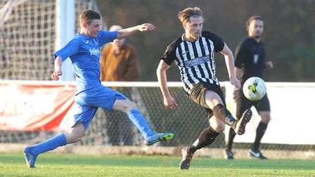 Danny Fitzgerald got the only goal for as Colney Heath beat Hadley 1-0.Picture: Karyn Haddon