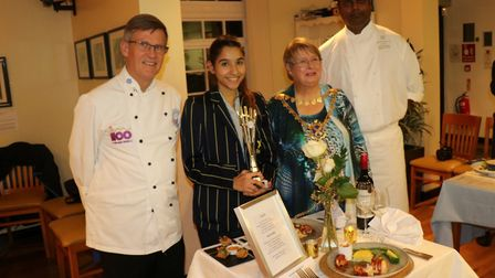 Rotary Young Chef Competition 2018. Left to right: Paul Wood from Oaklands College, Amanda Garcia-Gh