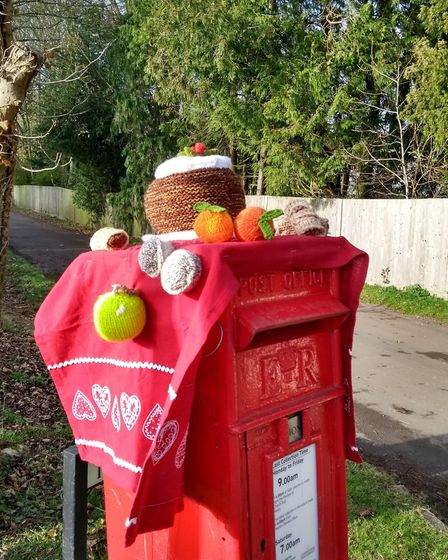 Barley postboxes have been yarnbomed for Christmas. Picture: Alison White