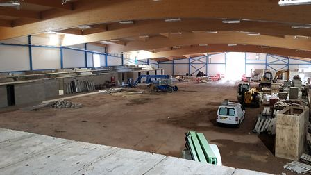 The progress of building work at the ice rink site. Picture: SCDC