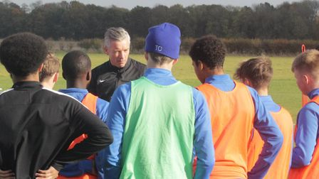 Andy Edwards teaching some of the football academy members at Oaklands College. Picture: Oaklands Co