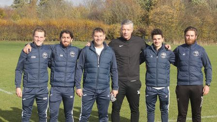 Andy Edwards with the Oaklands Wolves coaches. Picture: Oaklands College.