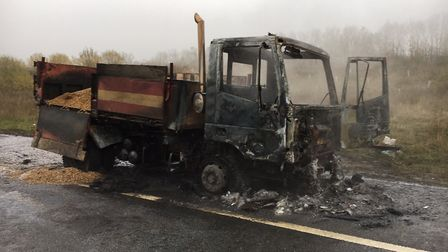 The lorry caught fire on the A428