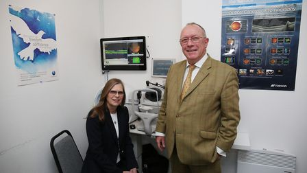 Optometrist Ann Steel and EOS owner John Snelgrove in the store on Hatfield Road. Picture: DANNY LOO