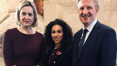Left to right: Work & Pensions Secretary Amber Rudd, Watling county councillor Caroline Clapper and