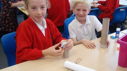 Two pupils enjoying Bernards Heath Junior School's Challenge Day 2018. Picture: Submitted by Bernard