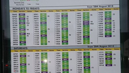 The S4 and S5 bus timetable. Picture: Margaret Giddings