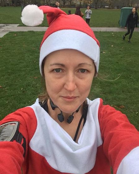 St Albans Striders' Ali Hills took part in the Victoria Park Santa Run in aid of the UK Sepsis Trust