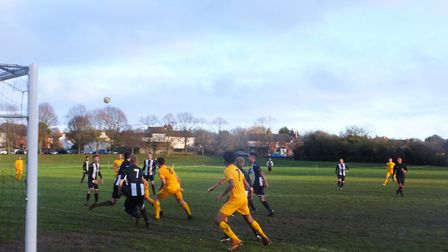 Colney Heath battled Old Bradwell United in the SSML Challenge Trophy. Picture: TERRY EDWARDS