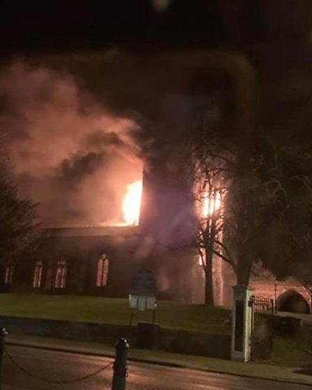 A fire has broken out at the St John the Baptist Church in Royston. Picture: Emma Jones