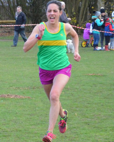 Elaine Livera of Hunts AC was the second female finisher in the senior race.