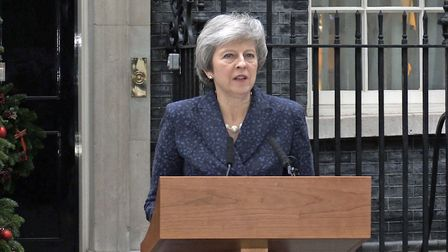 Prime Minister Theresa May making a statement outside 10 Downing Street, London, after the backbench