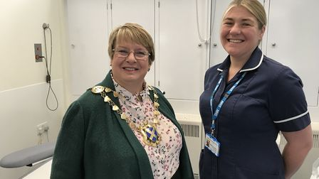 The Mayor of St Albans Rosemary Farmer (left) with nursing team manager Rebecca Cantor at the Commun