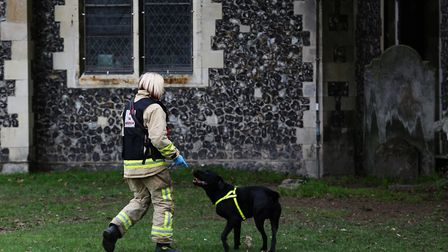 Reqs the fire dog and his handler Nikki from the Herts Fire Investigation Dog Team on the scene at R