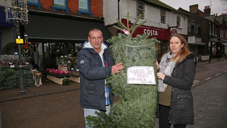 Reads of Harpenden shop manager Graeme Gardner and Christmas help Shelley Fensom. Picture: DANNY LOO