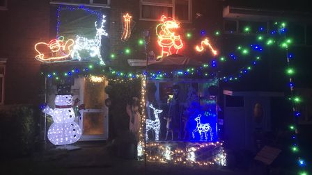 The Christmas lights show Frank Clark put on on Vicarage Close, St Albans.