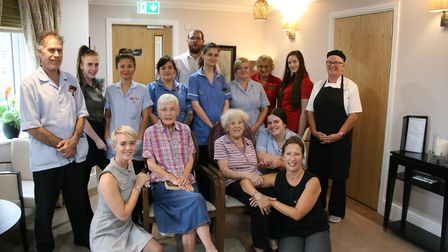 Staff and residents at Ferrars Hall Care Home