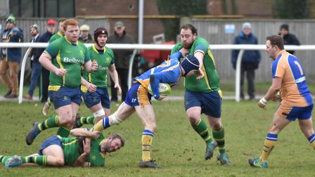 Stuart Quinn (green, right) scored one of the Stags tries as they beat Oakham. Picture: J BIGGS PHOT