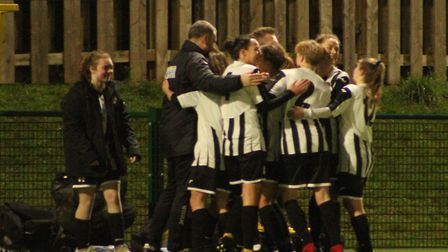 St Ives Town Ladies celebrate their second goal in a 2-1 victory at Newmarket Town Ladies. Picture: