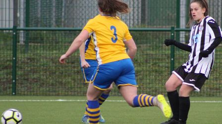 Tierney Coulson put St Ives Town Ladies ahead against Newmarket Town Ladies from the penalty spot. P