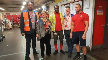 The Mayor of St Albans City and District Rosemary Farmer (second from left) with the Royal Mail work