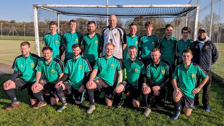 The St Ives Men's 1sts are back row, left to right, Back row L-R: Charlie McCarter, David McCarter,