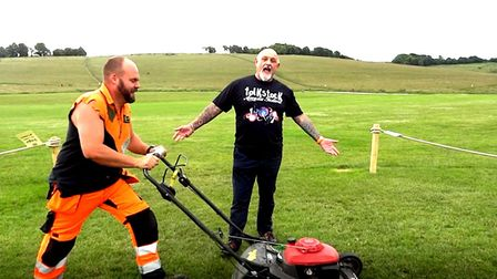 Leaf and Lawn with Joe Rose in a still from the video for his charity single to raise funds for Home