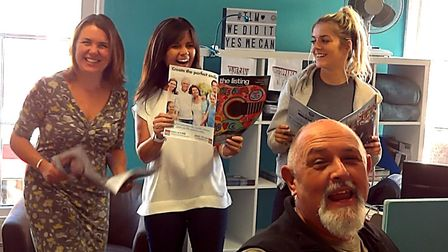 Cath, Sharon and Ellie from The Listing with Joe Rose in the video for his charity single to raise f