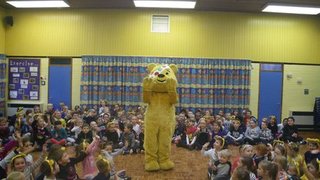 Children from Crosshall Infant School with Pudsey