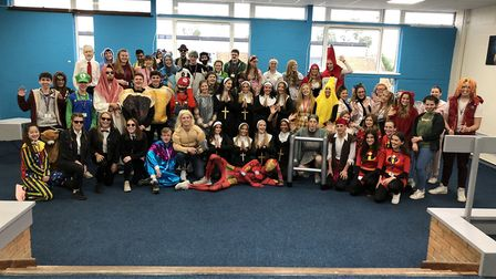 St Ivo sixth form fancy dress for Children in Need