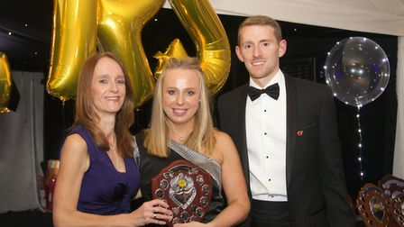 St Albans Striders' Magdalena Petrus (centre) was named most improved female athlete at the club's a