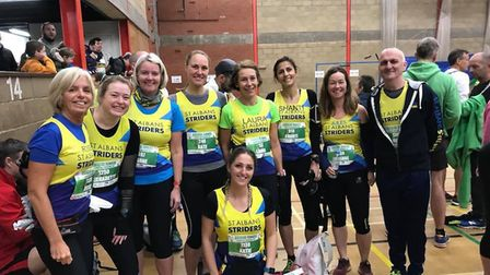 Some of the St Albans Striders contingent at the St Neots Half Marathon.