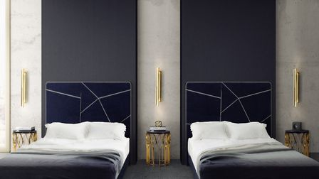 Light becomes art: These gold-plated brass Cyrus wall lights and Mecca side tables were inspired by