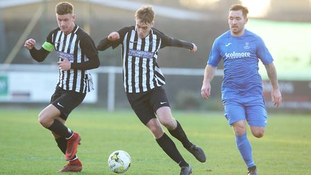 Colney Heath V Potton United - Jack Woods and Harry Shepherd in action for Colney Heath.Picture: