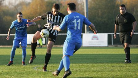 Colney Heath V Potton United - Andy Sears-Black in action for Colney Heath.Picture: Karyn Haddon