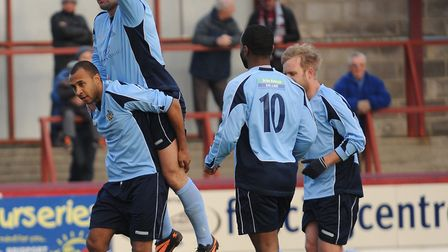 St Albans City celebrate James Comley's goal on their last visit to Weymouth. Picture: Bob Walkley