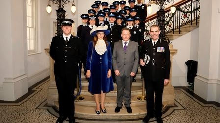 The cadets lined up behind (left to right) Insp Steve Alison, High Sheriff Suzy Harvey, Police and C