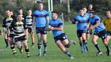 Jordan Rook carries the ball for St Neots in their success against Stockwood Park.