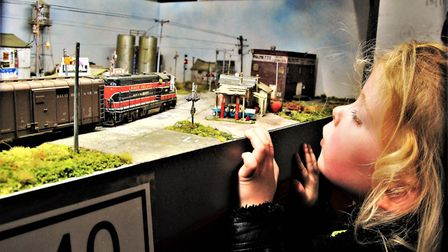 Little Jessica Hobman watching the American Rock Island Line. Picture: Clive Porter