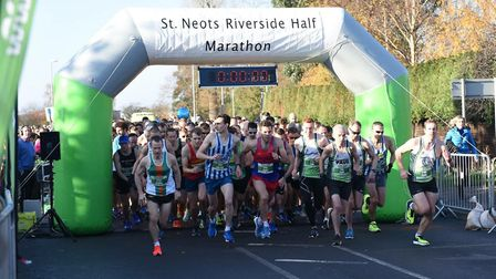 The runners set off in the St Neots Half Marathon.