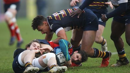 Reuben Bird-Tulloch, seen in action for Old Albanian, has agreed to join Northampton Saints. Pict