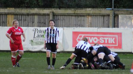 St Ives Town Ladies celebrate their extra-time winner against Acle United in the Eastern Region Wome