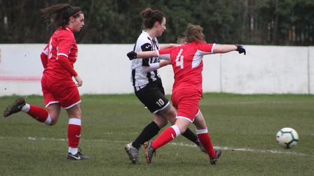 Harriet Ford of St Ives Town Ladies during their cup win against Acle United. Picture: GARY REED PHO