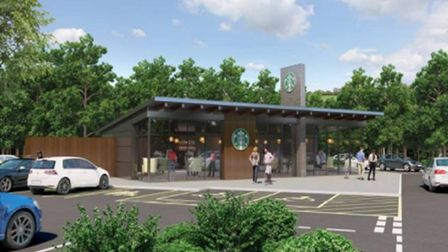An artist's impression of the Starbucks drive-thru, which was turned down by planners.