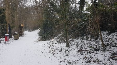 A footpath off of Harpenden Road in St Albans in the snow.