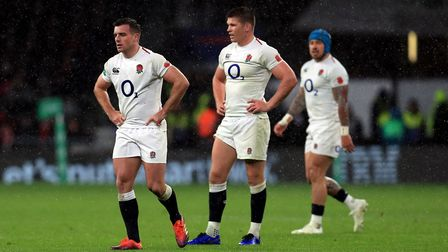 England's George Ford (left) and Owen Farrell (centre) appear dejected during the Quilter Internatio
