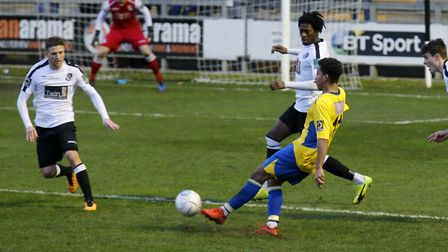 Zane Banton got the first St Albans City goal against Dartford. Picture: LEIGH PAGE