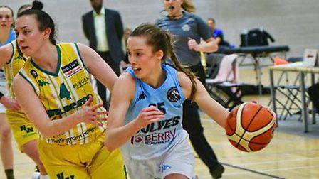 Megan Pritchard drives forward for Oaklands Wolves in their big WBBL win over Nottingham Wildcats. P