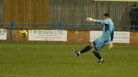 St Ives Town goalkeeper Martin Conway saved a penalty at Hitchin. Picture: LOUISE THOMPSON